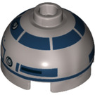 LEGO R2-D2 Round 2 x 2 Dome Top with Lavender Dots and Dark Blue Pattern (Hollow Stud with Bottom Axle Holder x Shape + Orientation) (18841 / 26448)