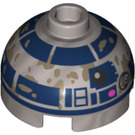 LEGO R2-D2 with Dirt Splash Print (Dagobah) Brick 2 x 2 Round with Dome Top (Hollow Stud with Bottom Axle Holder x Shape + Orientation) (18841 / 38102)