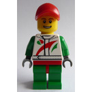 LEGO Race car mechanic in Octan logo suit with red cap Minifigure