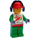 LEGO Race car mechanic in Octan suit with red cap, ear defenders Minifigure