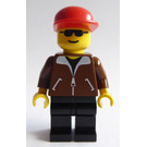 LEGO Railroad Yard Worker with Brown Coat, Black Legs, Sunglasses, and Red Cap Minifigure