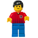 LEGO Red and Blue Team Player with Number 18 Minifigure