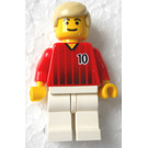 LEGO Red and White Team Player with Number 10 on Front and Back Minifigure