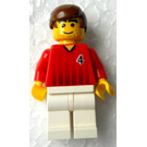 LEGO Red and White Team Player with Number 4 on Front and Back Minifigure