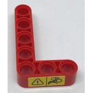 LEGO Red Beam Bent 90 degrees, 3 and 5 Holes with Warning Sign Sticker