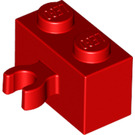 LEGO Red Brick 1 x 2 with Vertical Clip (thick open 'O' clip) (30237 / 95820)