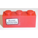 LEGO Red Brick 1 x 3 with 'Brussel - Amsterdam' (left) Sticker
