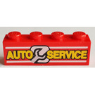 LEGO Red Brick 1 x 4 with 'AUTO SERVICE' and Wrench
