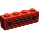 LEGO Red Brick 1 x 4 with Black Car Grille without Embossing