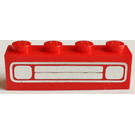 LEGO Red Brick 1 x 4 with Car Grille and Headlights Chrome Silver Pattern (Printed)