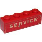 LEGO Red Brick 1 x 4 with 'SERVICE' Sticker