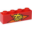 LEGO Red Brick 1 x 4 with Yellow 'XTREME' (Left Side) Sticker