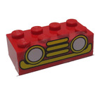 LEGO Red Brick 2 x 4 with Sticker from Set 350