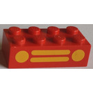 LEGO Red Brick 2 x 4 with Yellow Car Grille