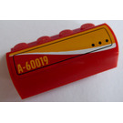"LEGO Red Brick 2 x 4 x 1.33 with Curved Top with ""A-60019"" Right Sticker"