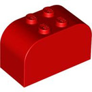 LEGO Red Brick 2 x 4 x 2 with Curved Top (4744)
