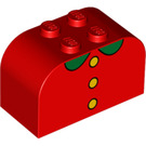 LEGO Red Brick 2 x 4 x 2 with Curved Top with 3 yellow buttons and green collar (83169)