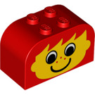 LEGO Red Brick 2 x 4 x 2 with Curved Top with Boy with Freckles (81780)