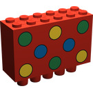 LEGO Red Brick 2 x 6 x 3 with Green Yellow and Blue Dots