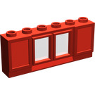 LEGO Red Classic Window 1 x 6 x 2 with 2 Panes and Shutters Short Lip