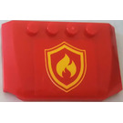 LEGO Red Curved Wedge Plate 4 x 6 x 2/3 with Yellow /Red Fire Logo from Set 4208 Sticker