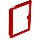 LEGO Red Door 1 x 4 x 5 Left with Transparent Glass (47899)