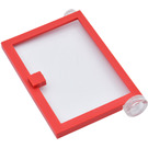 LEGO Red Door 1 x 4 x 5 Right with Transparent Glass