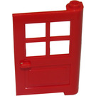 LEGO Red Door 1 x 4 x 5 with 4 Panes with 2 Points on Pivot (3861)