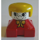 LEGO Red Duplo 2x2 base figure brick - White head with eyelashes and freckles,Yellow hair and bow Duplo Figure