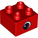 LEGO Red Duplo Brick 2 x 2 with Eye Decoration (13869)