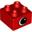 LEGO Red Duplo Brick 2 x 2 with Eye on two sides and white spot (82960)