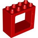 LEGO Red Duplo Door Frame 2 x 4 x 3 with Flat Rim (61649)