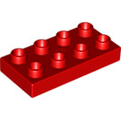 LEGO Red Duplo Plate 2 x 4 (4538 / 40666 / 89464)