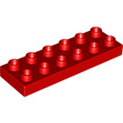 LEGO Red Duplo Plate 2 x 6 (98233)