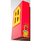 LEGO Red Fabuland Building Wall 2 x 6 x 7 with Yellow Squared Window with Bucket Sticker from Set 3660