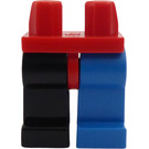 LEGO Red Hips with Right Black Leg and Left Blue Leg