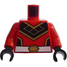 LEGO Red Minifig Torso with Super Warrior Decoration with red decorated Arms and Black Hands
