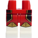 LEGO Red Minifigure Legs with super Warrior (white feet, with Black/Gold) Decoration
