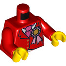 LEGO Red Minifigure Torso with Red Riding Jacket, Pink Necktie and Rosette (76382)