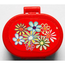LEGO Red Oval Case with Handle with Flowers on Outside and Mirror on Inside Stickers