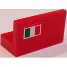 LEGO Red Panel 1 x 2 x 1 with Italian Flag (Left Side) Sticker without Rounded Corners