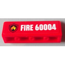 LEGO Red Panel 1 x 4 x 1 with Rounded Corners with Sticker from Set 60004 - Left side