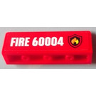 LEGO Red Panel 1 x 4 x 1 with Rounded Corners with Sticker from Set 60004 - Right side