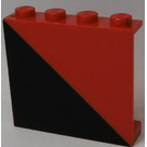 LEGO Red Panel 1 x 4 x 3 with Lower-Left Black Triangle without Side Supports, Solid Studs