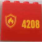 LEGO Red Panel 1 x 4 x 3 with Sticker from Set 4208