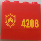 LEGO Red Panel 1 x 4 x 3 with Sticker from Set 4208 with Side Supports, Hollow Studs