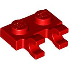 LEGO Red Plate 1 x 2 with Horizontal Clips (Open 'O' Clips) (60470)