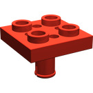 LEGO Red Plate 2 x 2 with Pin Bottom (Small Holes in Plate) (2476)