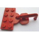 LEGO Red Plate 2 x 4 with Coupling and Hook (Permanent Assembly)