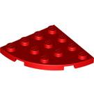 LEGO Red Plate 4 x 4 Round Corner (30565)